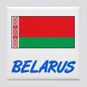 Belarus Flag Artistic Blue Design Tile Coaster